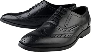 Kanprom Men's Black Genuine Leather Formal Oxford Lace-Up Brogue Shoes