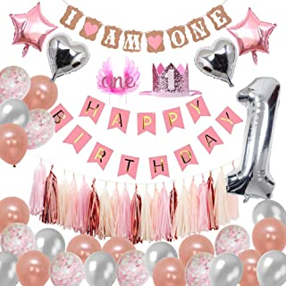 Baby 1st Birthday Girls Decorations - Rose Gold and Pink Birthday Party Decorations Supplies for 1 Year Old Kids with HAPPY BIRTHDAY Banner, Huge Number 1 Balloon, Heart & ONE Cake Crown, by Hulaso