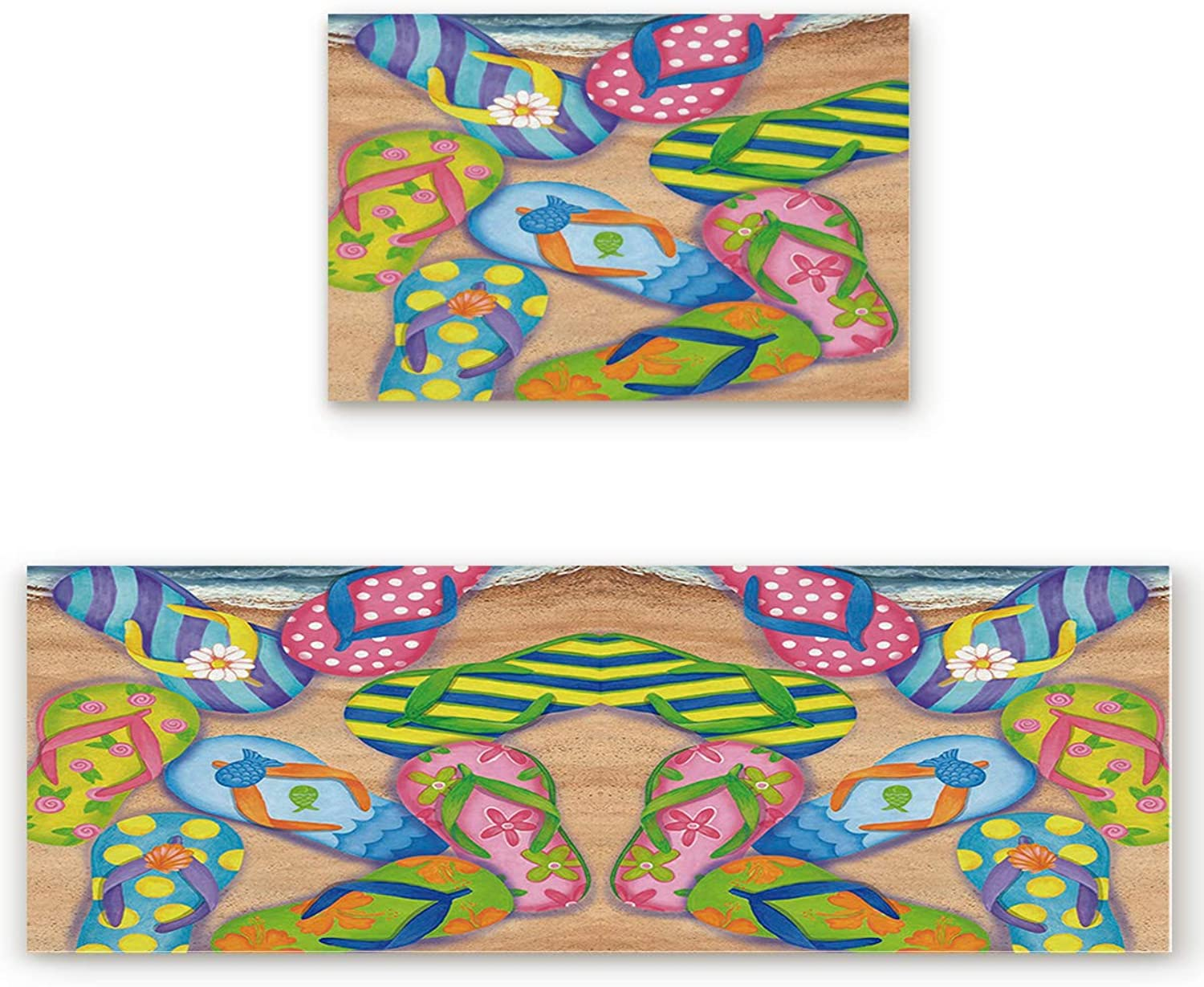 2 Piece Non-Slip Kitchen Bathroom Entrance Mat Absorbent Durable Floor Doormat Runner Rug Set - colorful Beach Sandal Flip Flops Print
