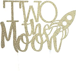 CMS Design Studio Handmade 2nd Birthday Cake Topper - Two The Moon with Rocket - Double Sided Gold Glitter Stock