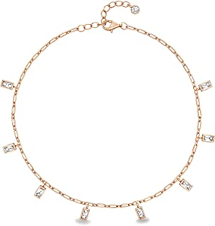 Devin Sterling Silver Baguette Cubic Zirconia Dangle Anklet for Women 9 Inches (Various Colors)