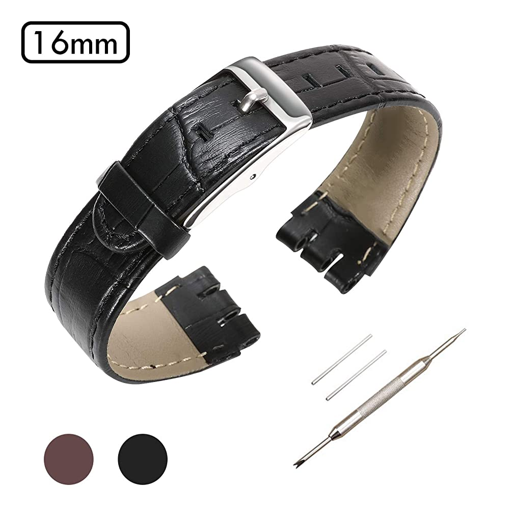 Genuine Leather Watch Strap Watch Band for Swatch, Accessories with Tool, Spring Bar Removal Tool, Full Calf Grain Skin Strip with Sliver Buckle, for Men Women Color & Width 16mm 18mm 20mm 21mm 24mm