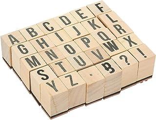 Juvale - Sellos de madera con letras del alfabeto, 30 piezas con letras y símbolos, sellos de goma montados en madera para hacer tarjetas, manualidades, álbumes de recortes, scrapbooks, etc.