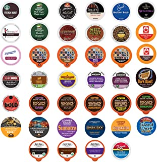 Bold Coffee Variety Pack Sampler, Single Serve Cups for Keurig K Cup Machine, 40Count (All unique cups, no duplicates)