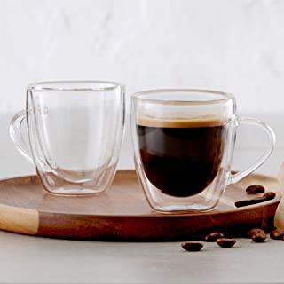 Insulated Double Wall Mug Cup Glass-Set of 4 Mugs/Cups for Coffee,Cappuccino,latte,espresso,Tea,Thermal,Clear,75ml