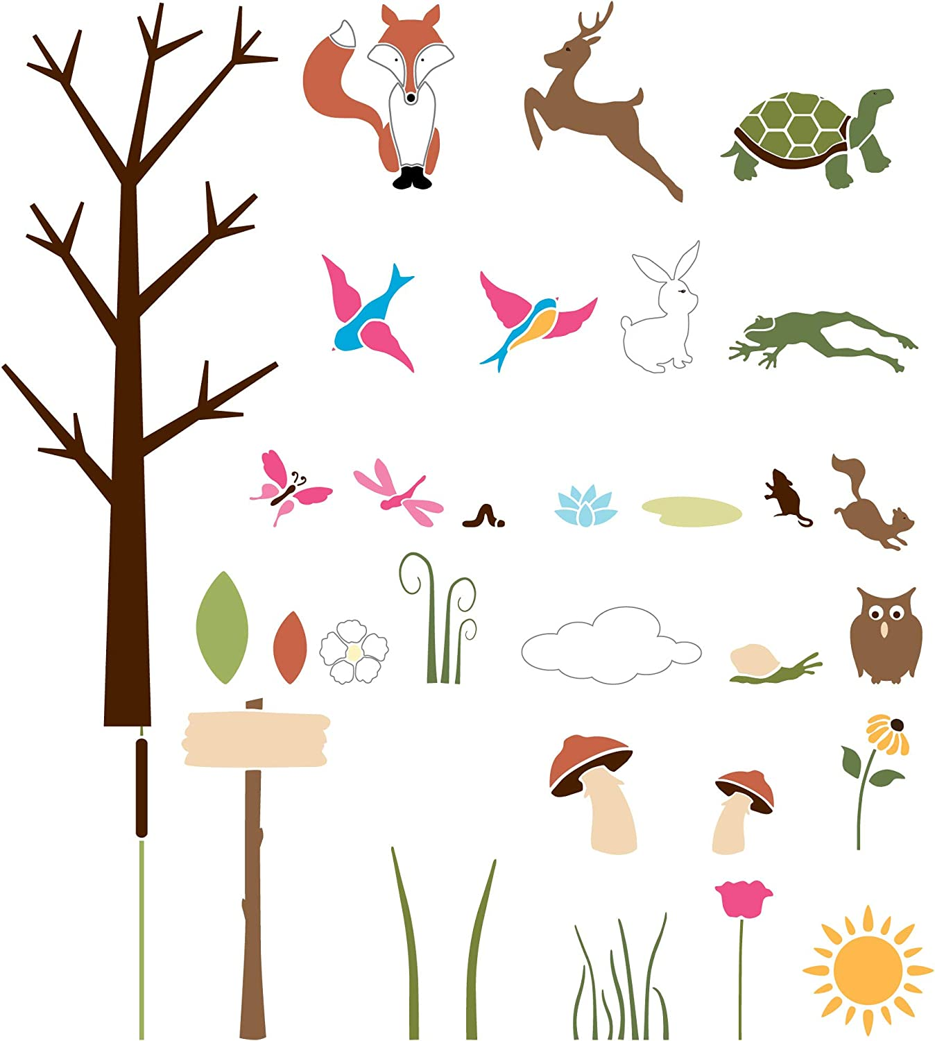 New product type MyWonderfulWalls Forest Theme Safety and trust Wall for Nurser Kit Stencil
