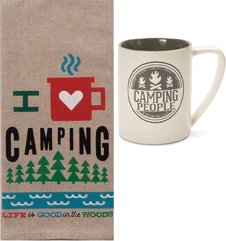 2 Piece Camping Kitchen Bundle Dish Towel With 18 Oz Ceramic Mug