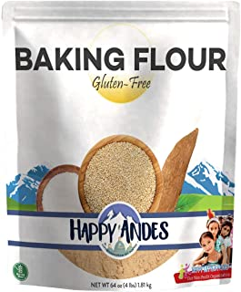 Happy Andes Gluten Free, All-Natural Baking Flour 4 lbs - Quinoa-Based Ingredients for Baked Bread - Healthy and Organic Alternative to Brownie and Cake Recipes - No Rice, No Xanthan Gum, Non-GMO