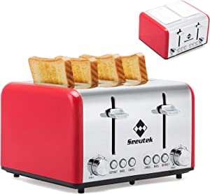 Seeutek Toaster 4 Slice Extra Wide Slots Stainless Steel Toasters with Reheat Bagel Defrost Cancel Function, 6 Bread Shade Settings Removable Crumb Tray with Shade Covers