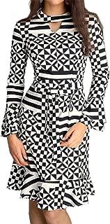Ruffle Hem Long Sleeve Flared Sleeve High Mock Neck Geometric Midi Bodycon Fishtail Mermaid Dress Black White