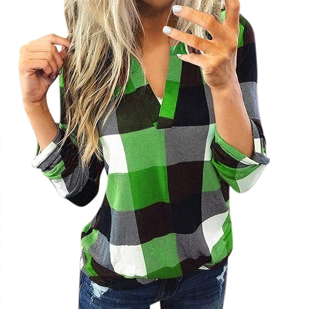 Long Sleeve Shirts for Women Lapel Collared Roll Up Sleeved Tunic Blouse Loose Multicolor Plaid Shirt Tops Plus Size
