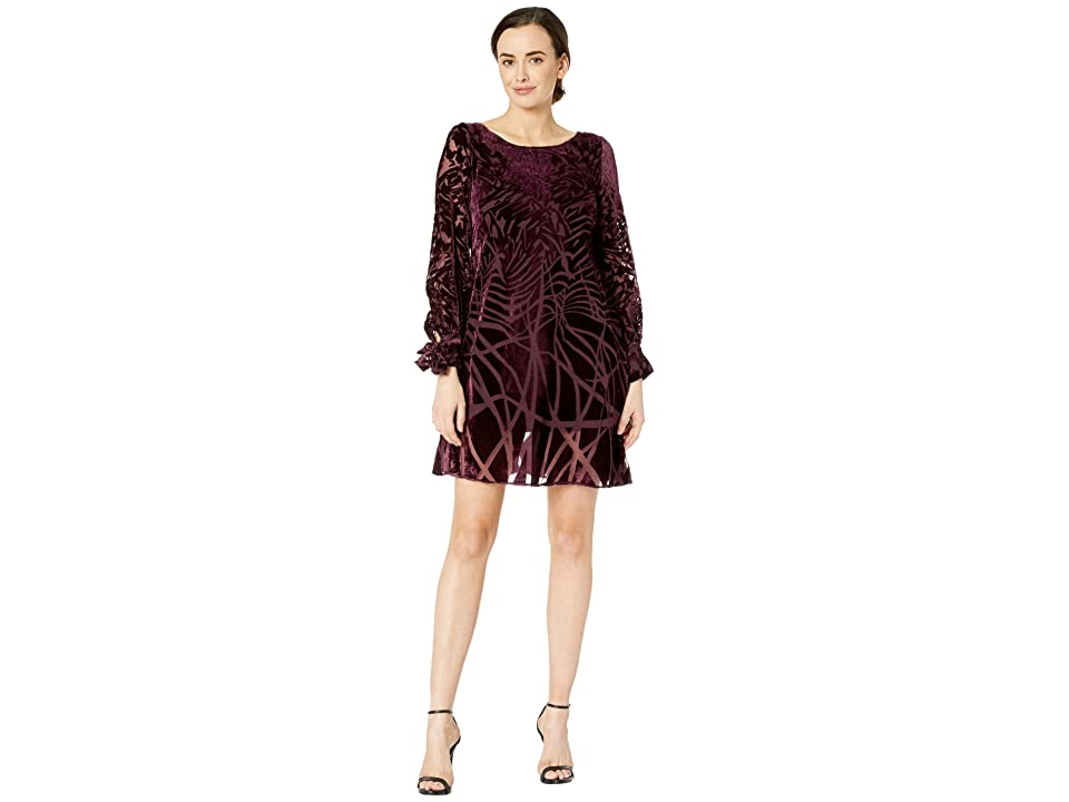 Taylor Geo Print Burnout Shift Dress (Burgundy) Women