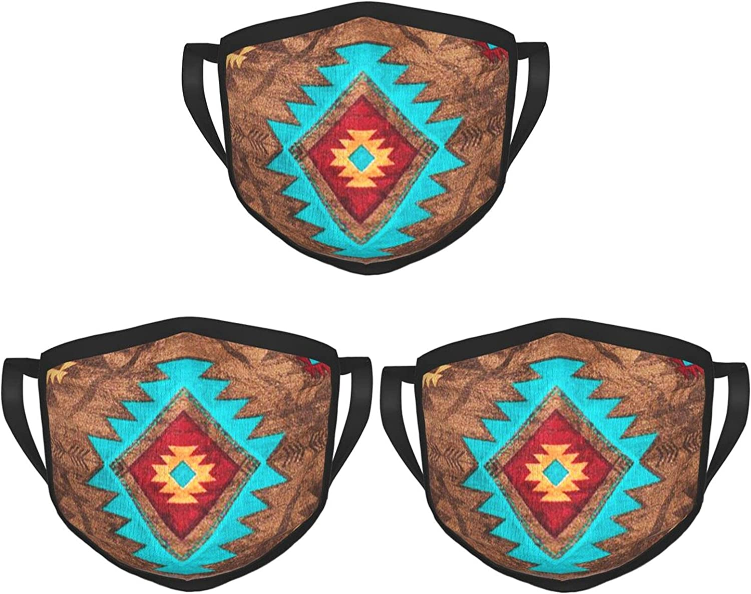 Balaclava Earmuffs Native American Southwestern Turquoise Geometry Face Mouth Cover Mask Reusable Windproof Scarf Towel Cover Headwrap