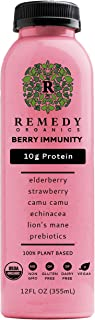 Remedy Organics Berry Immunity 12-Pack | Plant Based Protein Shakes, Ready to Drink | USDA Organic, Gluten Free, Dairy Fre...