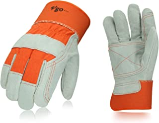 Vgo 3 Pairs Cow Split Leather Men's Work Gloves with Safety Cuff (Size L,Orange,CB3060)