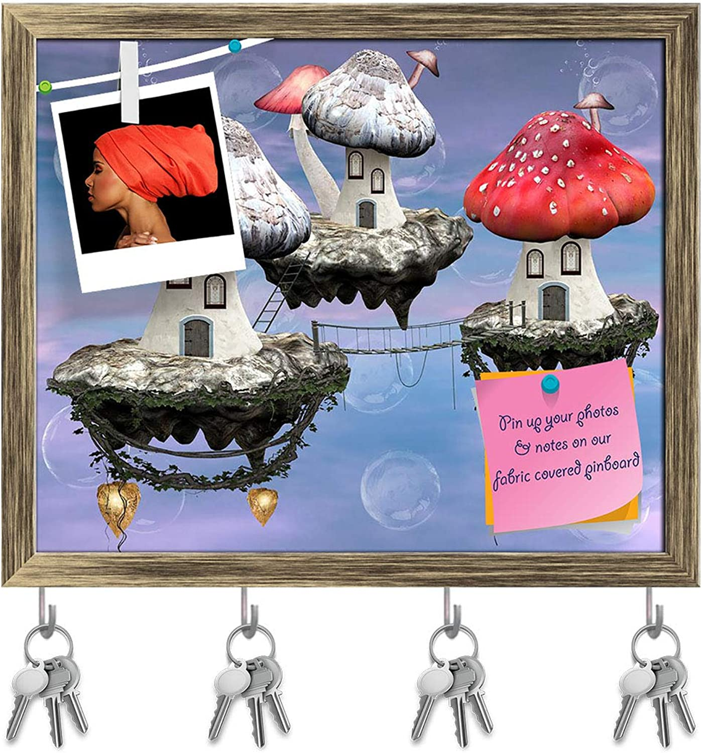Artzfolio Mushrooms Magic Town Key Holder Hooks   Notice Pin Board   Antique golden Frame 19.4 X 16Inch