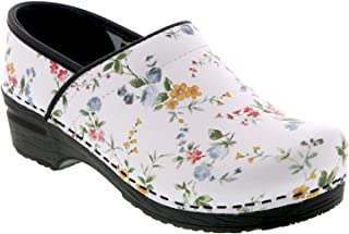 Bjork Professional Linnea Flower Leather Clogs