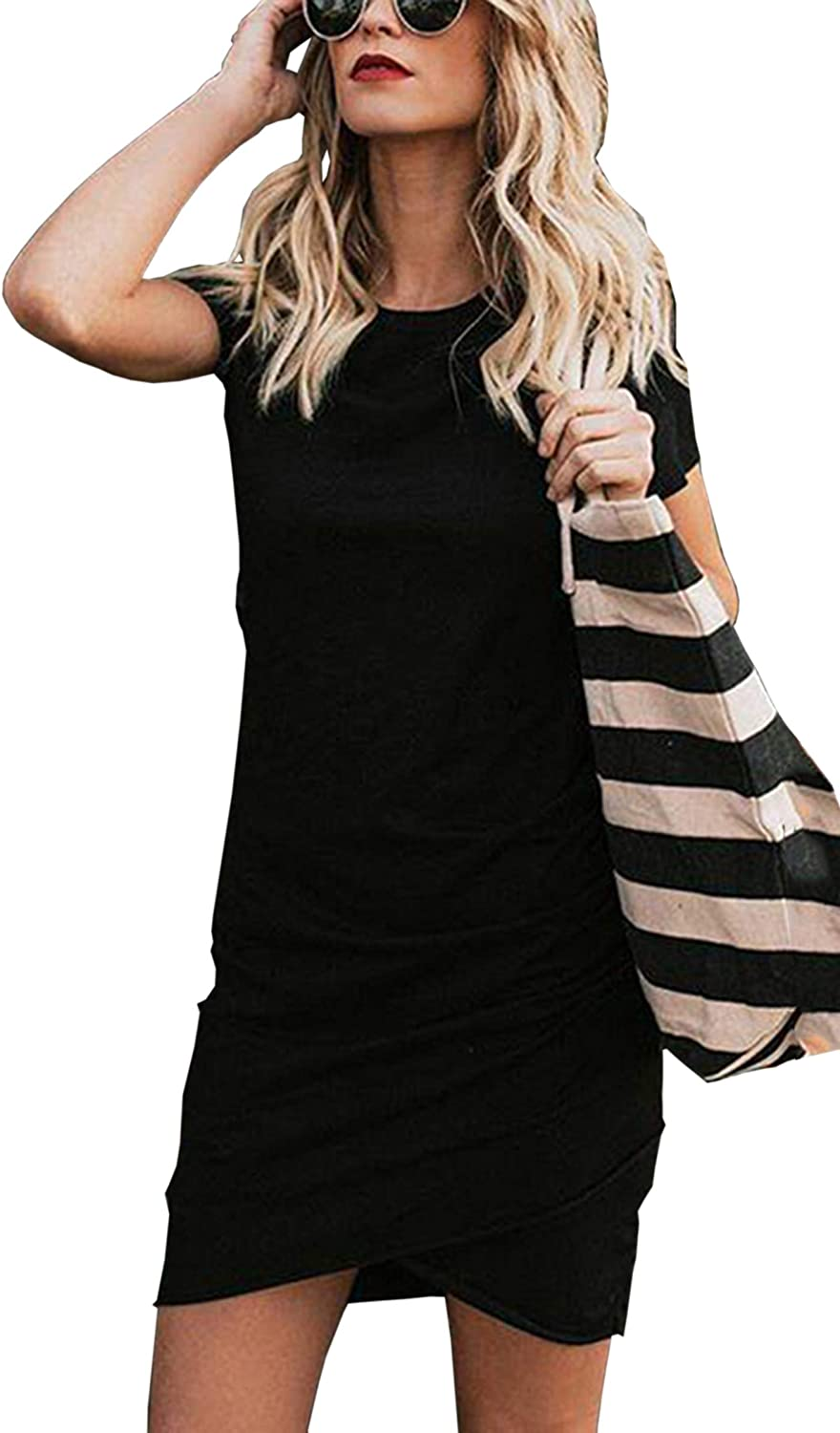 Hiblueco Women's Short Sleeve Round Neck Wrap Asymmetrical Ruched Bodycon Slim Dress