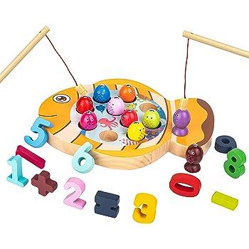 mysunny Giochi in Legno Pesca per Bambini, Gioco Montessori educativi Magnetica, Giocattoli per l'apprendimento del conteggio Digitale per 3 4 5 6 Anni Bimbi Bimba (2 in 1 Pesci)