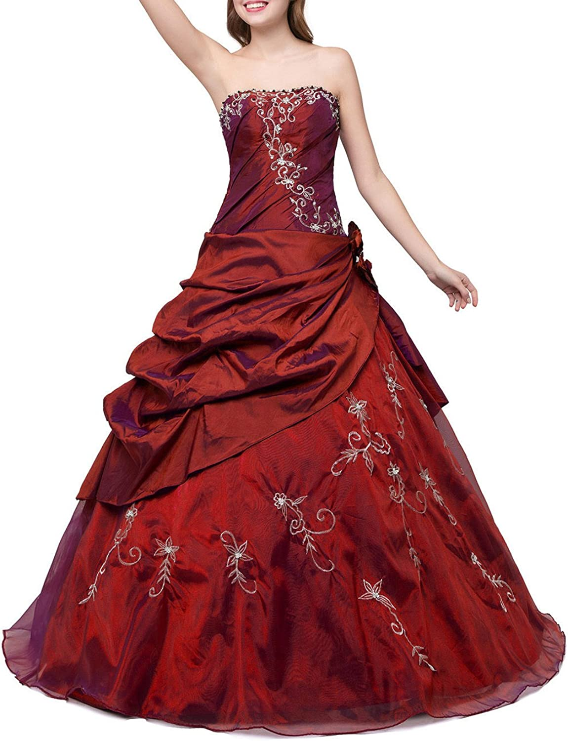 Liaoye Strapless Embroidery Prom Dress Pleated Quinceanera Ball Gown