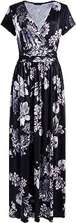 Women's V-Neck Pattern Pocket Maxi Long Dress