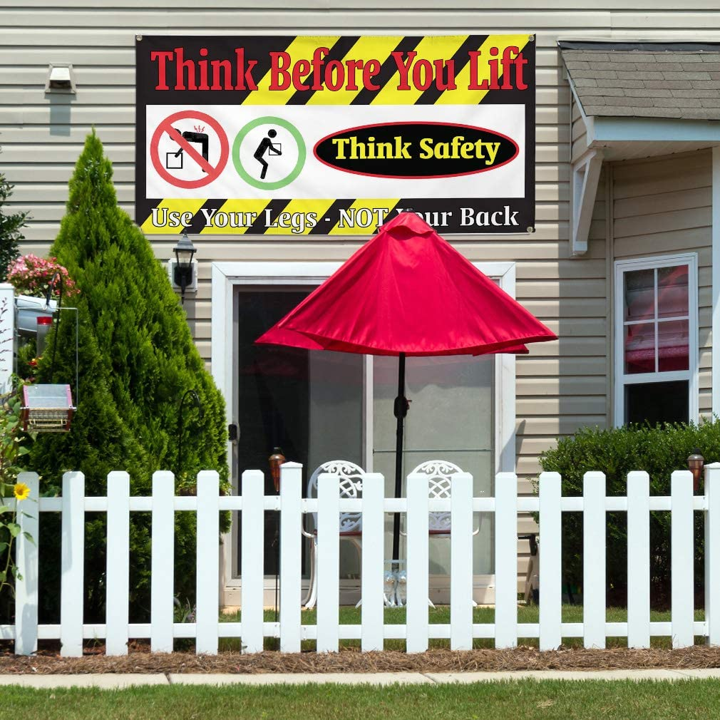 Vinyl Banner Multiple Sizes Think Before You Lift Business Business Outdoor Weatherproof Industrial Yard Signs Black 8 Grommets 48x96Inches