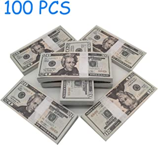 Nice Gift Movie Prop Money Full Print 2 Sided,Realistic Money 100 pcs 20 Dollar Bills for Movie,Teaching and Birthday Party