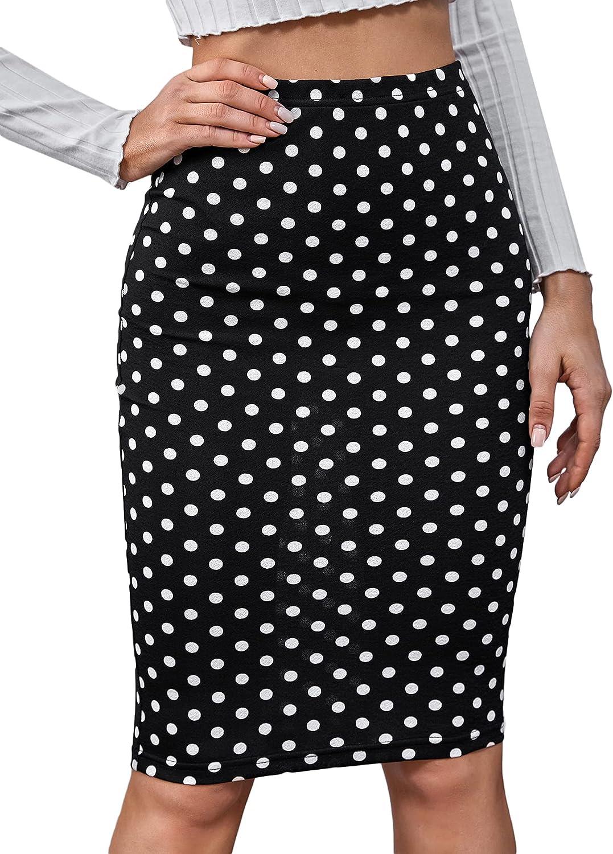 Milumia Women's Pencil Skirt Elastic Waist Bodycon Knee Length Skirts