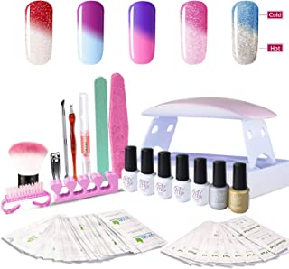 Gel Nail Polish Starter Kit, with 6W UV LED Nail Dryer Manicure Tools 5 Color Changing Gel polish Top and Base Coat, Portable Kit for Travel
