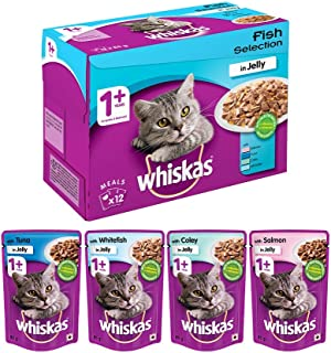 Whiskas Adult (+1 Year) Wet Cat Food Food, Fish Selection (Salmon, Coley, Tuna, Whitefish), 12 Pouches (12 x 85g)