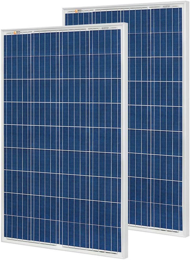 RICH SOLAR 200 Watt 12 Volt Polycrystalline Solar Panel 2 Pack of 100W High Efficiency Solar Module Charge Battery for RV Trailer Camper Marine Off Grid
