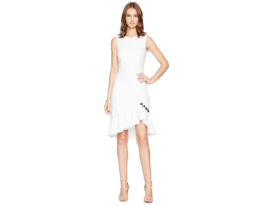 Calvin Klein Ruffle Hem with Button Detail Dress CD8C15LV (White) Women
