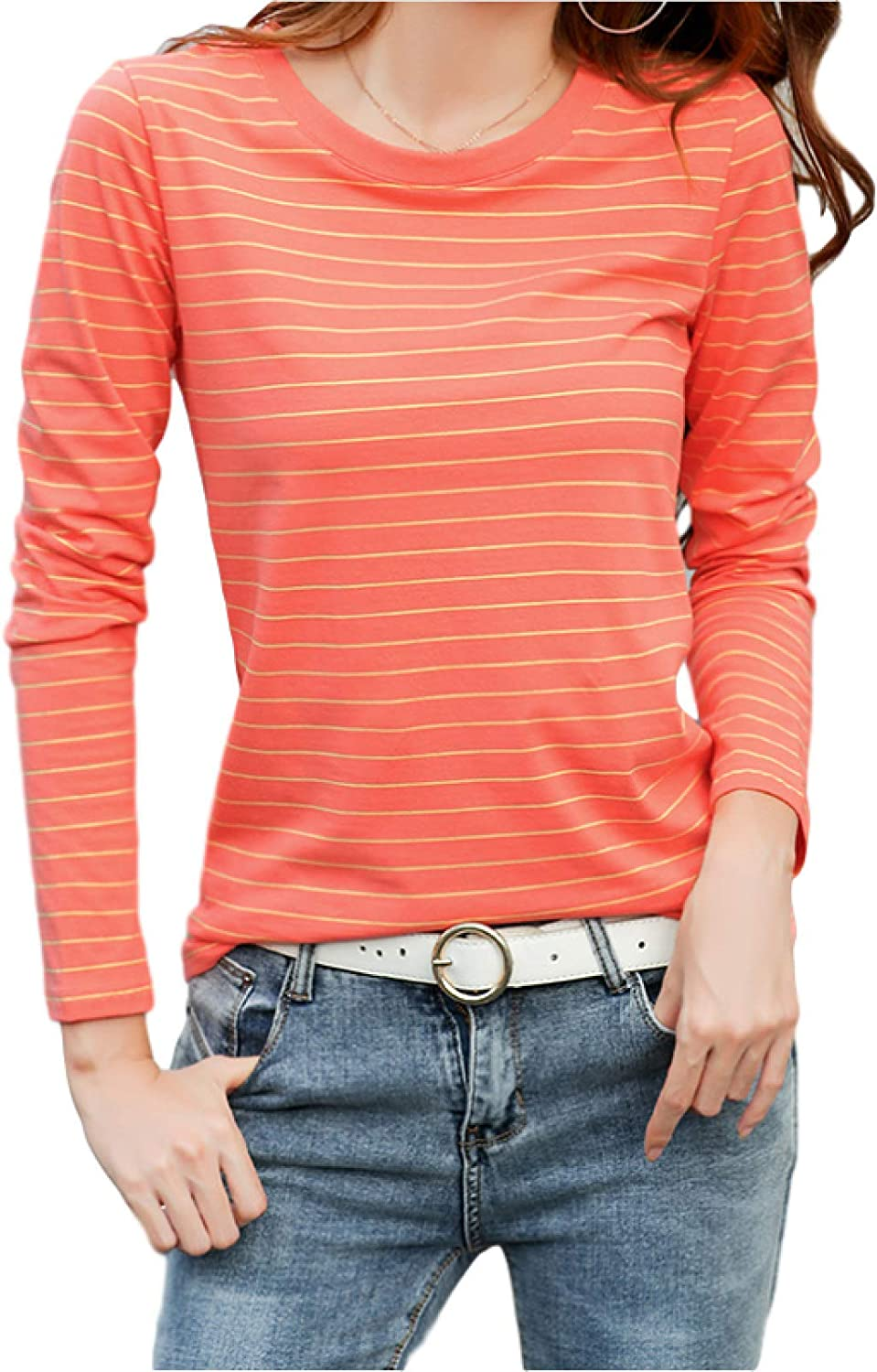 Women's Spring and Autumn Max Boston Mall 65% OFF Long Classic Top Striped Sleeve Print