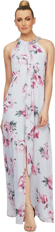 S.L. Fashions Women's Jewel Neck Drape Front Dress