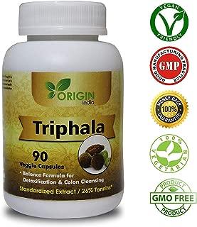 ORIGIN INDIA Triphala Capsules   90 Vegan 450 Mg Pure Triphala Extract Capsules   100% Natural Remedy for Detoxification & Rejuvenation