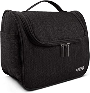Hanging Toiletry Bag, Airlab Large Cosmetic Bag with Handle and Hook, Travel Toiletry Organizer for Men and Women, Size: 9.45 x 7.65 x 5 inch, Black
