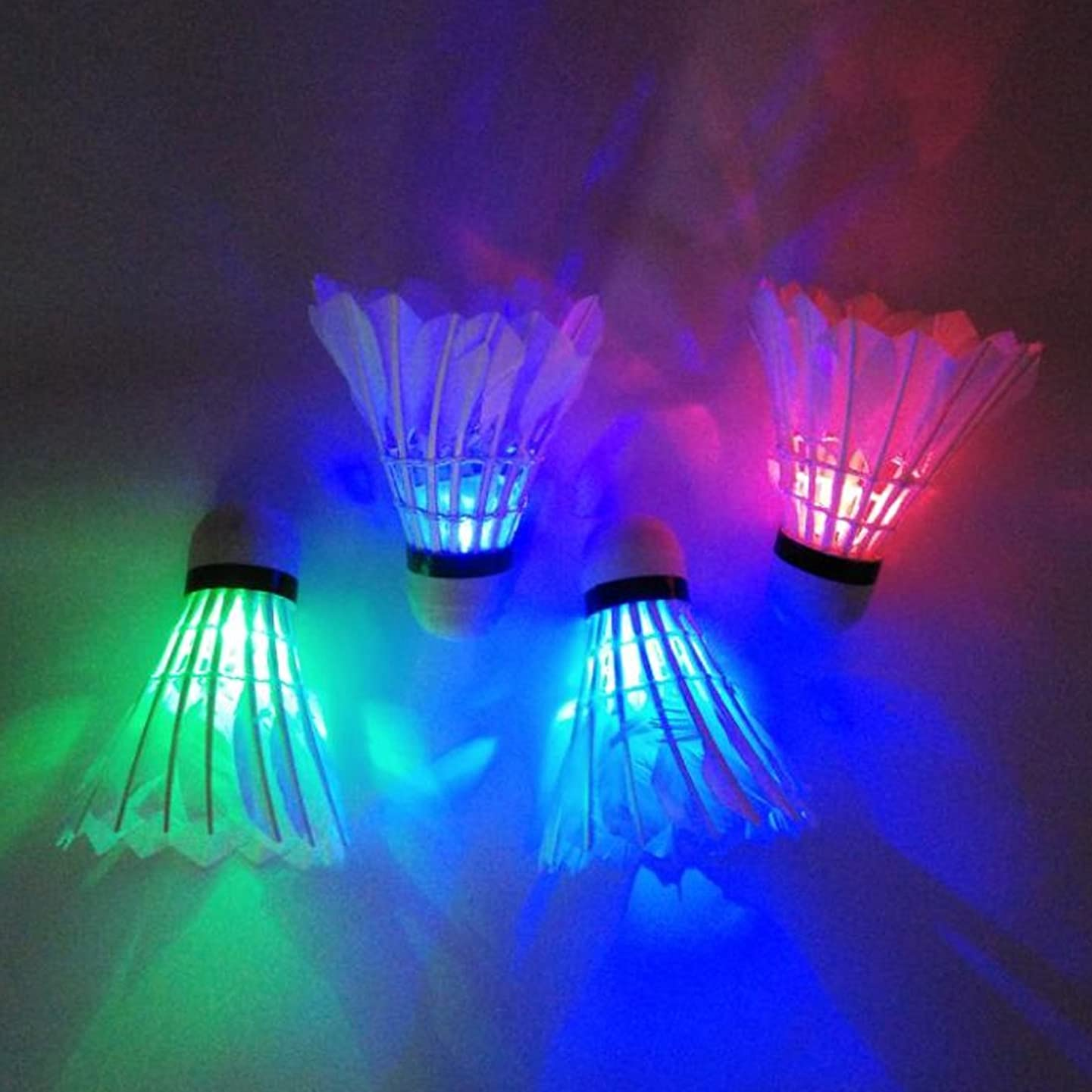 ILLIO Practical 4 PCs Colorful LED Badminton Shuttlecock Ball Feather Glow in Night Outdoor Entertainment Sport Accessories