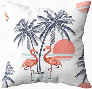 Musesh 16x16 Pillow Covers, Beautiful Tropical Pattern Background with Flamingo Coconut Palm Trees Silhouettes Sun Isolated for Sofa Home Decorative Pillowcase Sofa Pillow Covers
