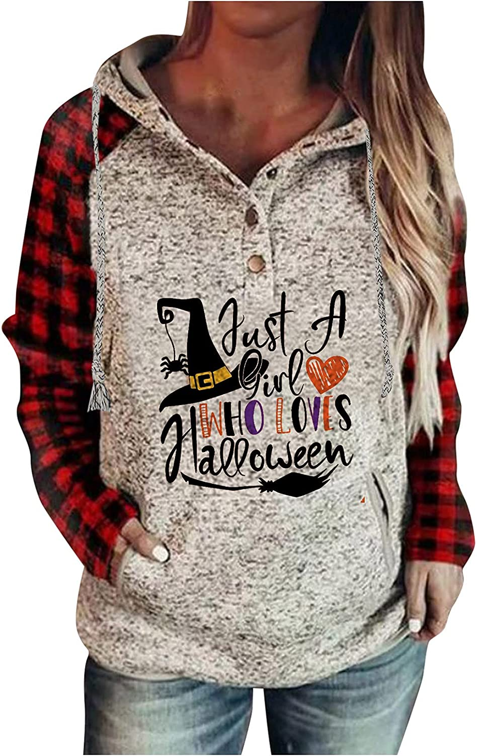 Hoodies Pullover Tops for Women Casual Button Down Long Sleeve Hooded Sweatshirts with Pocket Drawstring Sweater Tunic Tshirt