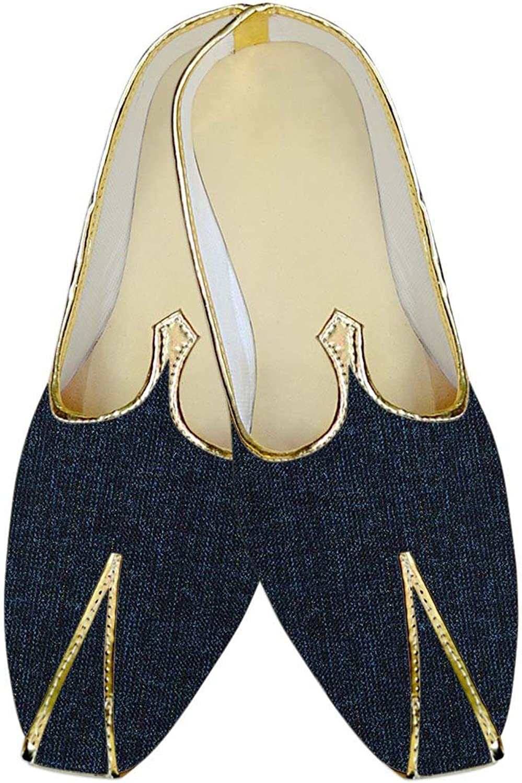 INMONARCH Mens Denim bluee Wedding shoes Ethnic MJ015707
