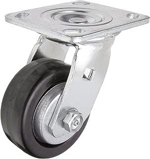 RWM Casters 40 Series Plate Caster, Swivel, Thread Guard, Phenolic Wheel, Roller Bearing, 600 lbs Capacity, 4