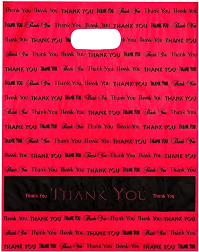 "12x15 Red""Thank You"" Die Cut Handle Plastic Bags 50/cs"