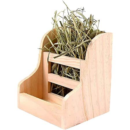 Tfwadmx Wooden Hay Feeder Guinea Pig Hay Manger Dispense Rack for Bunny Chinchilla Rabbit