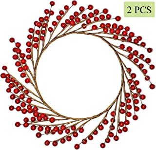 WsCrofts 2Pcs Red Berry Xmas Wreath - 12 Inch Fall Winter Red Pip Berries Wreath for Home Front Door Wall Barn Farmhouse Christmas Decor