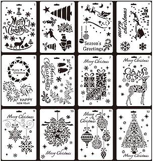 Painting Stencils,12 pcs Creative Christmas Trees/Reindeer