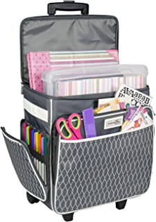 Everything Mary Grey & White Rolling Scrapbook Storage Tote - Scrapbooking Storage Case for Rings, Paper, Binder, Crafts, Beads, Paper, Scissors - Telescoping Handle with Dual Wheels - Craft Case