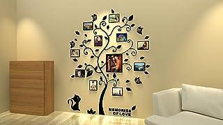 Asvert Stickers Muraux 3D, Amovibles Arbre Stickers Autocollants Muraux 132 x 160cm avec 11 Cadres de Photo, Feuilles Noires