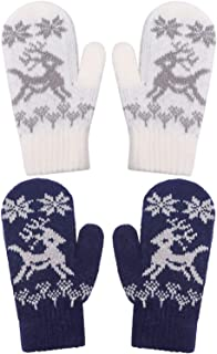 YJDS Kids Toddlers Mittens Wool Winter Gloves Christmas 2/3 Pairs