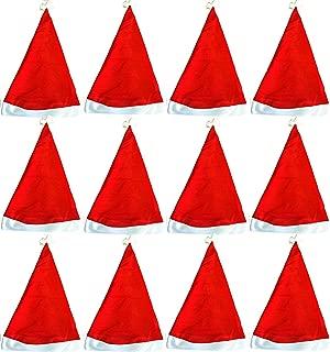TheGag Santa Hats for Kids (12 Pack Bulk) Affordable Red White Santa Hats for Christmas