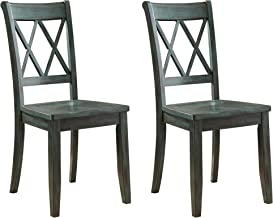 Signature Design by Ashley - Mestler Dining Room Chair - Wood Seat - Set of 2 - Blue/Green